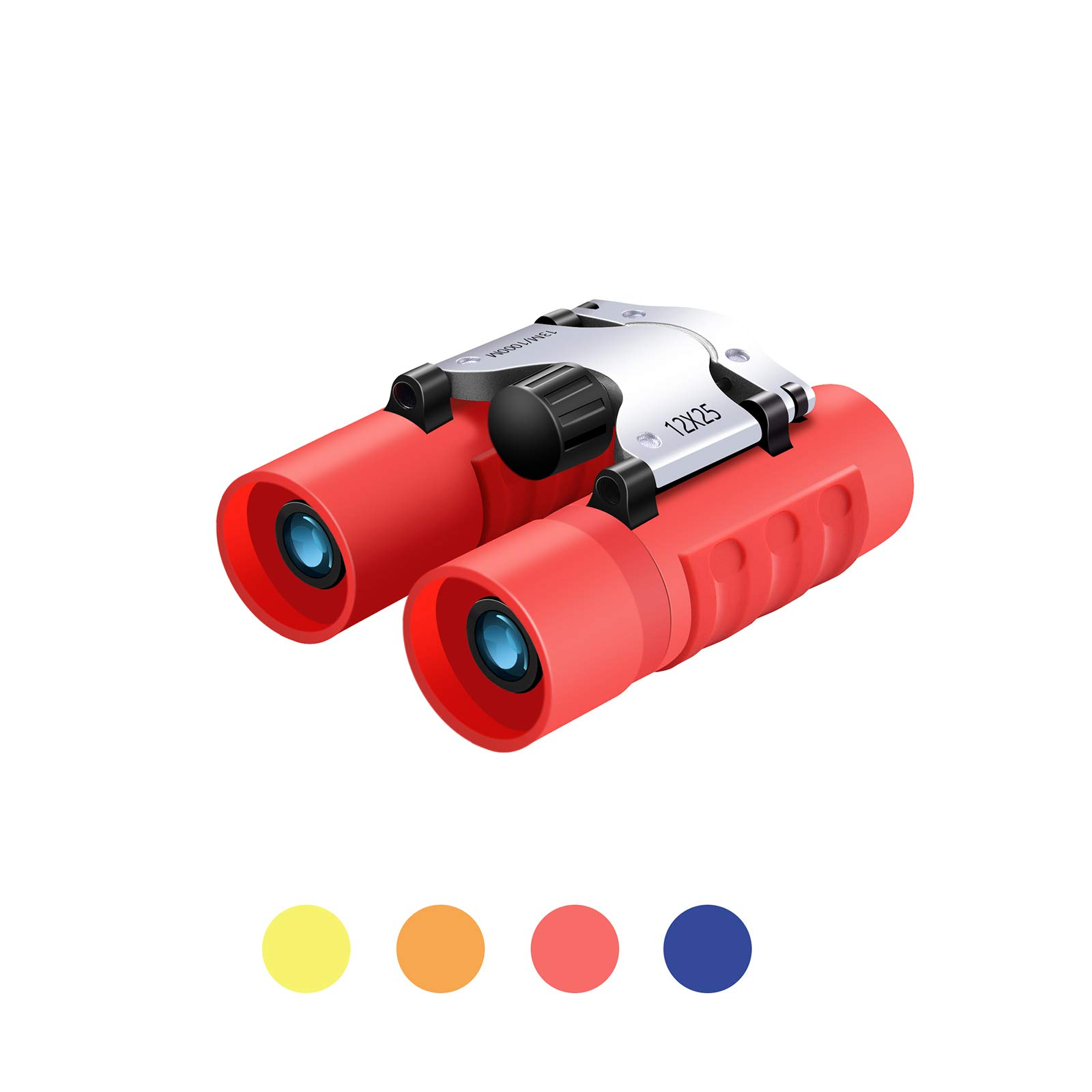 Binoculars for Kids, 12X25 Samll Lightweight Pocket Binoculars High Power Real Optics for Safari Concert Opera Theater 3-12 Years Boys Girls Best Gifts (Red)