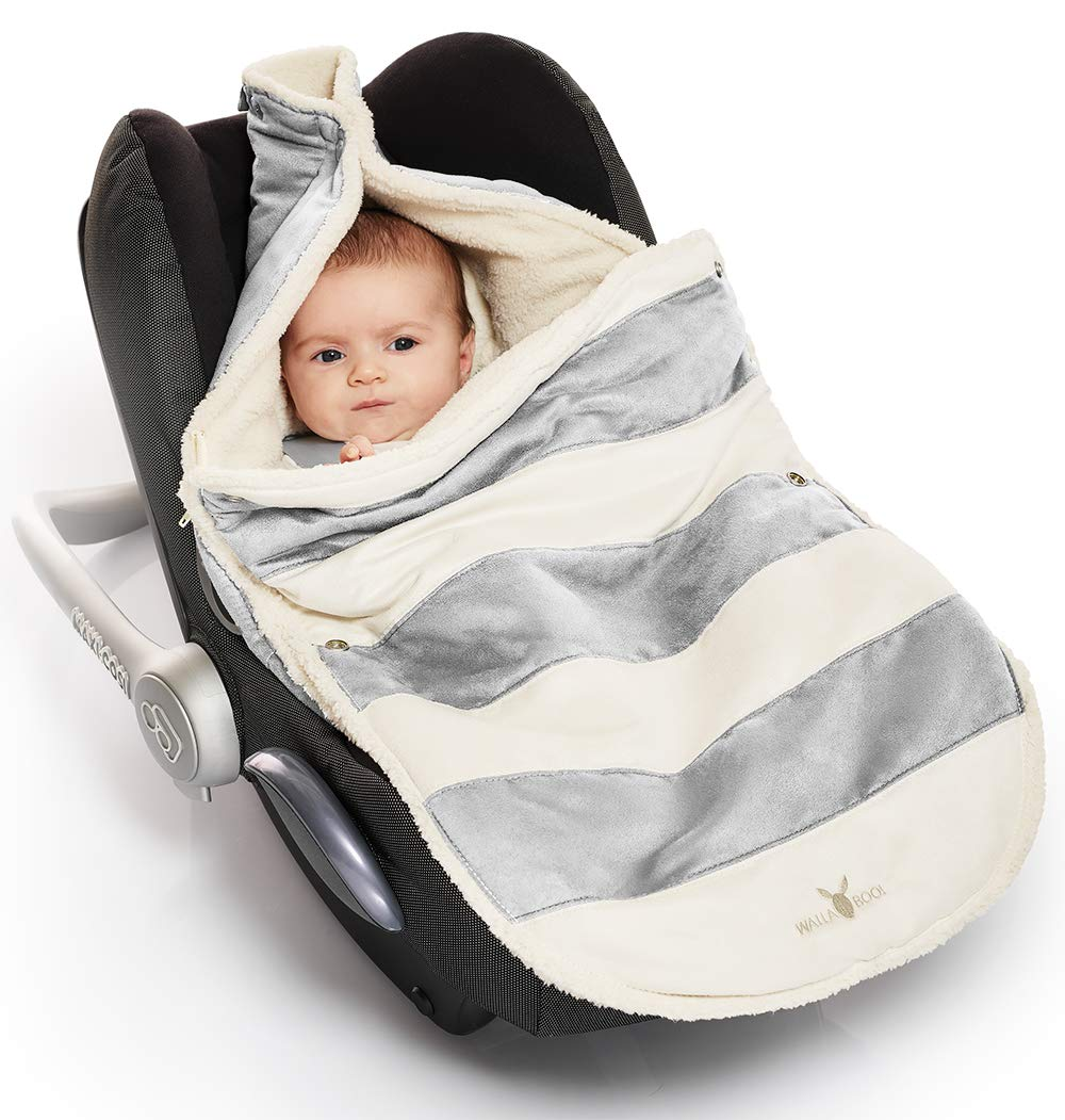 Wallaboo Baby Universal Bunting Bag, Striped Silver, 12 Months