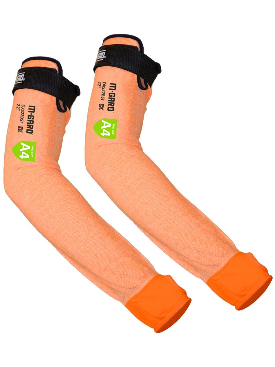 MAGID Cut Resistant Protective Arm Sleeves with Thumb Slot, 1 Pair, Orange I Thumbslot: Yes, 18""