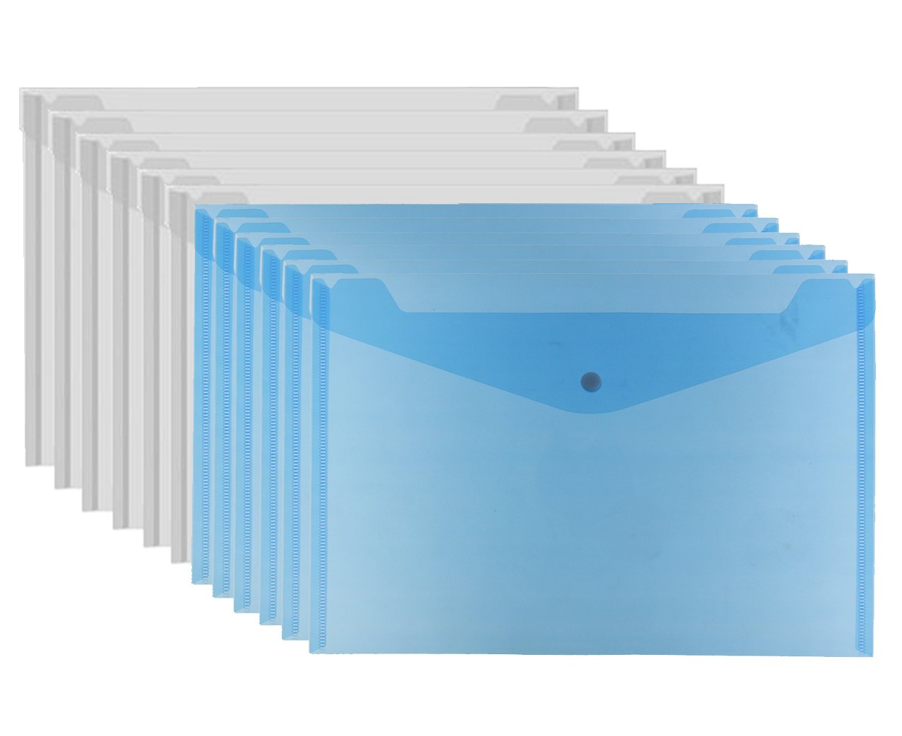 Bird Fiy Clear Document Folder with snap Button,Premium Quality Poly Envelope, A4 Size, Set of 12 in 2 Assorted Colors, Blue,White