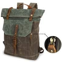 Roll Top Canvas Backpack, Hiking Daypacks Satchel Bookbag Vintage Water-Proof Waxed Leather Laptop Bag 15.6inch College Studenet Backpack for Men Women
