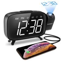 ELEGIANT Projection Alarm Clock, FM Radio Alarm Clock, 6.0'' LED Curved-Screen Display with Dimmer 180° Adjustable Dual Alarm, 12/24Hour, Battery Backup, 7 Alarm Sounds with USB Charger for Bedroom