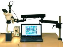 AmScope SM-8TZZ-FOR-M Digital Professional Trinocular Stereo Zoom Microscope, WH10x and WH20x Eyepieces, 3.5X-180X Magnification, 0.7X-4.5X Zoom Objective, Fiber-Optic Ring Light, Articulating-Arm Boom Stand, 110V-240V, Includes 0.5x and 2.0x Barlow Lenses and 1.3MP Camera with Reduction Lens and Software