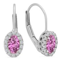 Dazzlingrock Collection 14K 5X3 MM Each Oval Lab Created Gemstone & Round Diamond Ladies Halo Hoop Earrings, White Gold