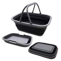 SAMMART SAMMART 9.2L (2.37Gallon) Collapsible Tub with Handle - Portable Outdoor Picnic Basket/Crater - Foldable Shopping Bag - Space Saving Storage Container (1, Grey/Black)