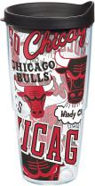 Tervis 1265112 NBA Chicago Bulls All Over Insulated Tumbler with Wrap and Black Lid, 24oz, Clear