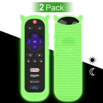 2 Pack Protective Case for TCL Roku TV RC280 Remote, Silicone Cover Shock Proof Remote Controller Skin, Cute Cat Ear Shape Anti Slip Universal Replacement Sleeve Protector(Glow Green)