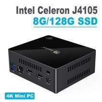 Mini PC,Beelink X45 Intel Celeron J4105 Processor 4M Cache, up to 2.50 GHz,8G RAM 128G SSD, Windows 10 Mini Computer Support 4K 60FPS Play, Gigabit Ethernet, Dual-Band Wi-Fi, Bluetooth 4.0