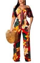 Womens Sexy Floral Print 2 Pieces Outfits Off Shoulder Tie Knot Crop Top Long Wide Leg Pants Bodycon Jumpsuit