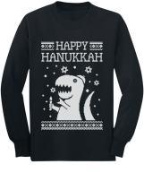 Happy Hanukkah Funny Jewish T-Rex Ugly Christmas Youth Kids Long Sleeve T-Shirt