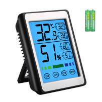 KeeKit Indoor Thermometer Hygrometer, Digital Temperature Humidity Monitor with Touch LCD Backlight, MAX/MIN Record, Humidity Gauge Meter for Home, Office, Baby Room (Battery Included)