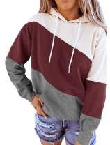 Minclouse Women's Long sleeves Color Block Hoodie Tops Cute Casual Drawstring Loose Tunic Pullover