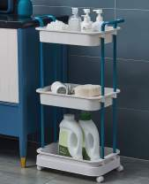 Rolling Utility Cart with Wheels 3 Tier Plastic Storage Cart with Handle Multifunction Storage Trolley for Kitchen, Bathroom,Home,Office , Blue cart on Wheels
