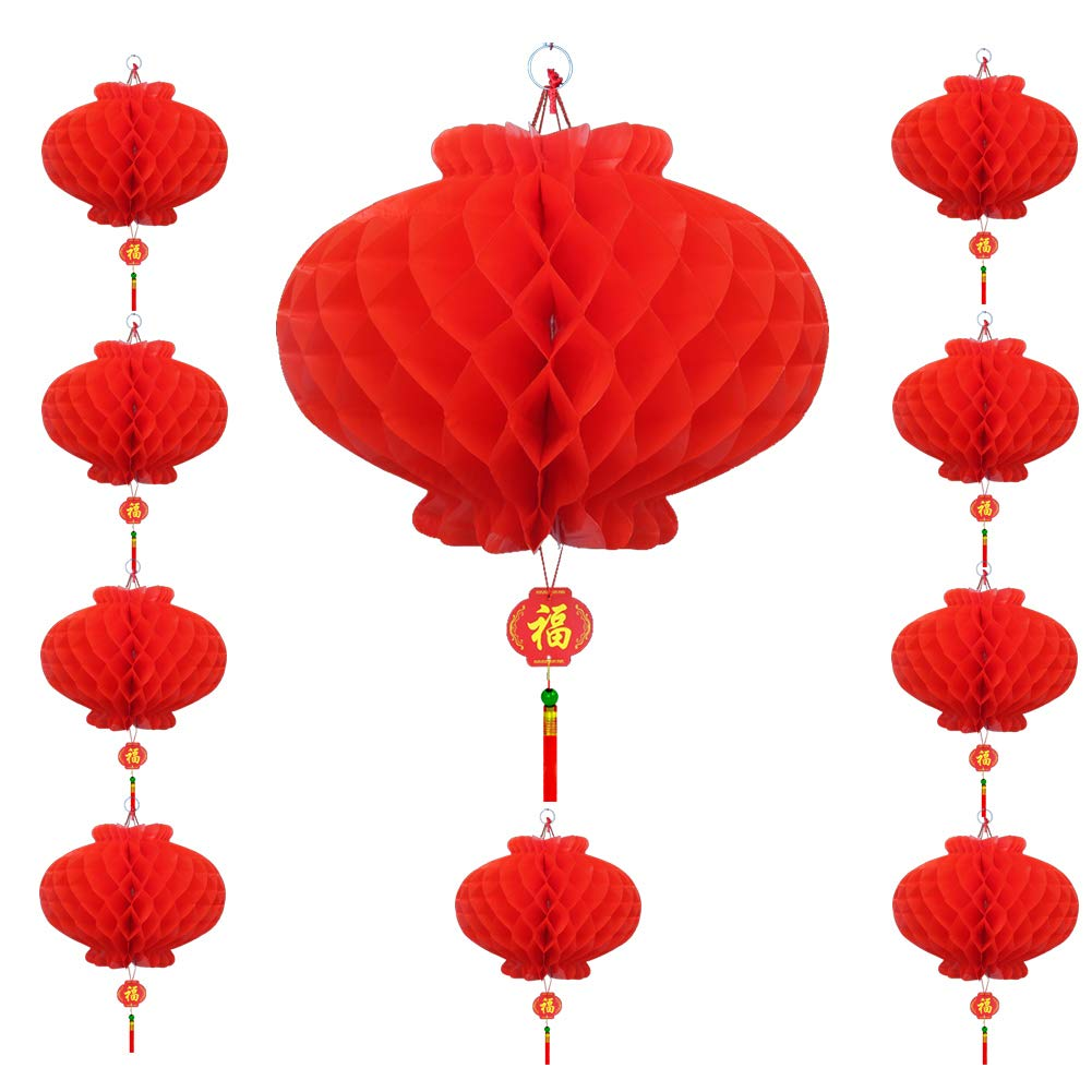 10 Pack Chinese Lanterns 13.9 inchs for New Year, Spring Festival Decorations, Hang Red Lantern for Party Wedding Restaurant Decoration Celebration Supplies or Décor 10 Pack