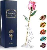 Ejoyous 24K Gold Rose Pink with Stand Fresh Rose Dipped in 24 Karat Gold, Natural Shape Rose Flower Gift for Her on Birthday Wedding Anniversary Graduation Housewarming Apology or Thankfulness, Pink