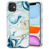 Caka Marble Case for iPhone 11 Marble Case Protective Girly Women Luxury Fashion Soft Slim Flexible Rubber TPU Shockproof Marble Cover Phone Case for iPhone 11 (Blue White)