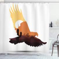 """Lunarable Western Shower Curtain, Silhouette of an Eagle with an Arizona Desert Scene Cactuses and Canyon on Dry Land, Cloth Fabric Bathroom Decor Set with Hooks, 70"""" Long, Brown"""