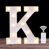 LED Marquee Letter Lights 26 Alphabet Light Up Name Sign Remote Control Letter Lamp for Wedding Birthday Party Battery Powered Christmas Lamp Home Bar Decoration(letter K-Remote control)