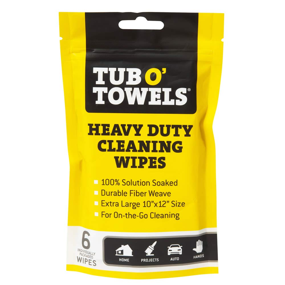 Tub O Towels Heavy Duty Cleaning Wipes, Individually Wrapped Multi Surface Wipes, Remove Grease, Dirt, Grime and More, 6-Pack, TW01-6