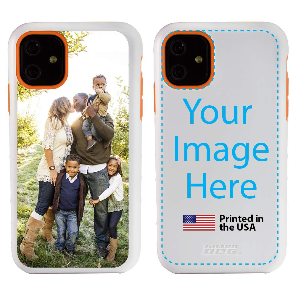 Custom iPhone 11 Cases by Guard Dog - Personalized - Make Your Own Protective Hybrid Phone Case (White, Orange)