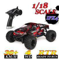 HBX 1:18 Scale All Terrain RC Car 36KM/H High Speed, 4WD Electric Vehicle,2.4 GHz Radio Controller, Included Battery and Charger,Waterproof Off-Road Truck (Red)