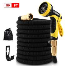 "PHZ. Garden Hose - Expandable Water Hose Double Latex Core- 3/4"" Solid Brass Fittings, Extra Strength Fabric- Flexible Expanding Hose 8 Function Spray Nozzle"