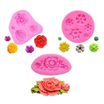 BAKER DEPOT 3 pack mini rose Flower Resin Molds Fondant silicone molds Cake Decoration Molds Chocolate Mould Rose Shape Set of 3