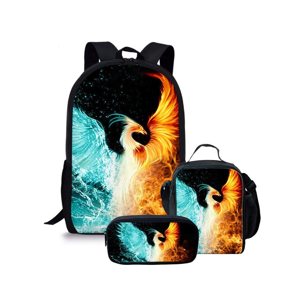 Cool Phoenix Backpack with Lunch Bag Pencil Case kids Teen Boys Girls Backpacks Set School Bookbags