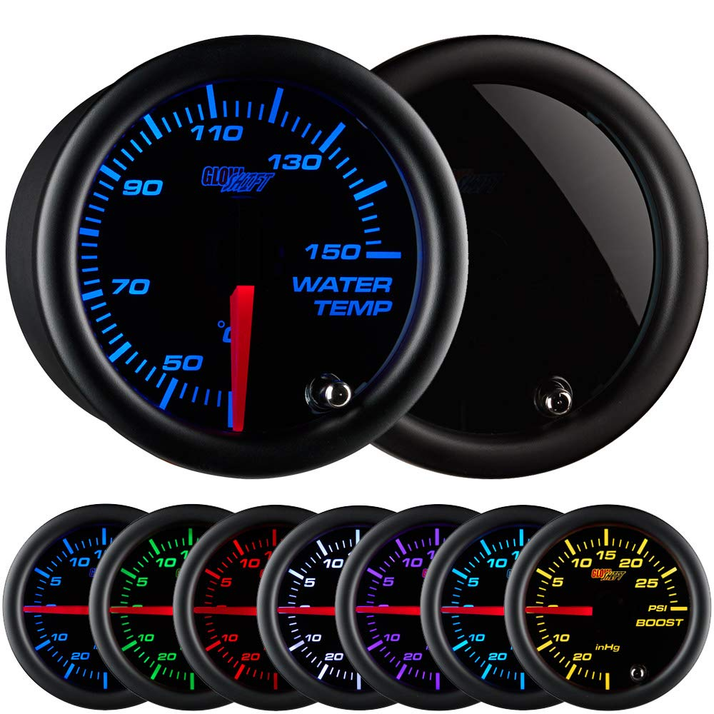 """GlowShift Tinted 7 Color 150 Celsius Water Coolant Temperature Gauge Kit - Includes Electronic Sensor - Black Dial - Smoked Lens - for Car & Truck - 2-1/16"""" 52mm"""