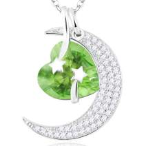 July Birthstone Ruby Necklace Birthday Gifts Women I Love You to the Moon and Back Half Moon Heart Shooting Star Fine Peridot Emerald Jewelry Sterling Silver Anniversary Gifts