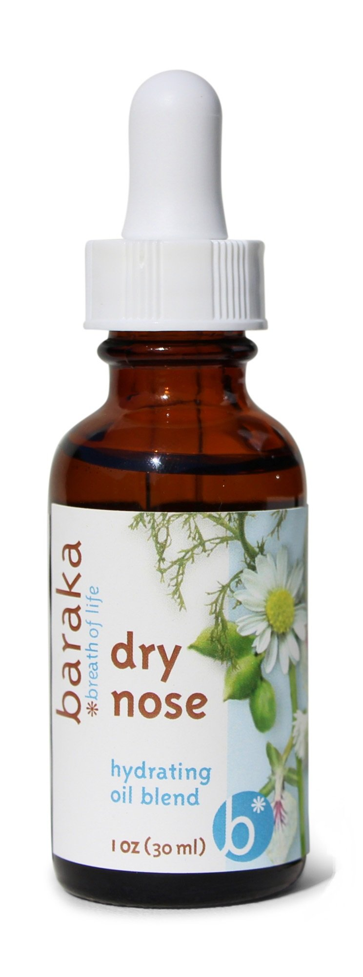 Baraka Dry Nose Nasal Moisturizer with 4 Organic Essential Oils in Sesame Oil Base for Hydrating Sinuses for Kids and Adults - 1 oz Dropper Bottle - 1 Pack