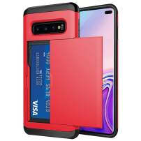 Galaxy S10 Plus Case,Hidden Pocket Sliding Wallet Credit Card ID Slot Holder Dual Layer Cover Soft TPU Hard PC Hybrid Shockproof Protective Case(Red)