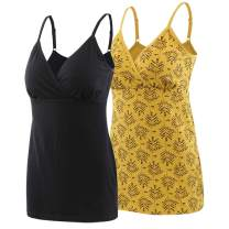 Topwhere Maternity Nursing Top Tank Cami, Women's Cotton Maternity Pajama Tops Sleep Bra for Breastfeeding