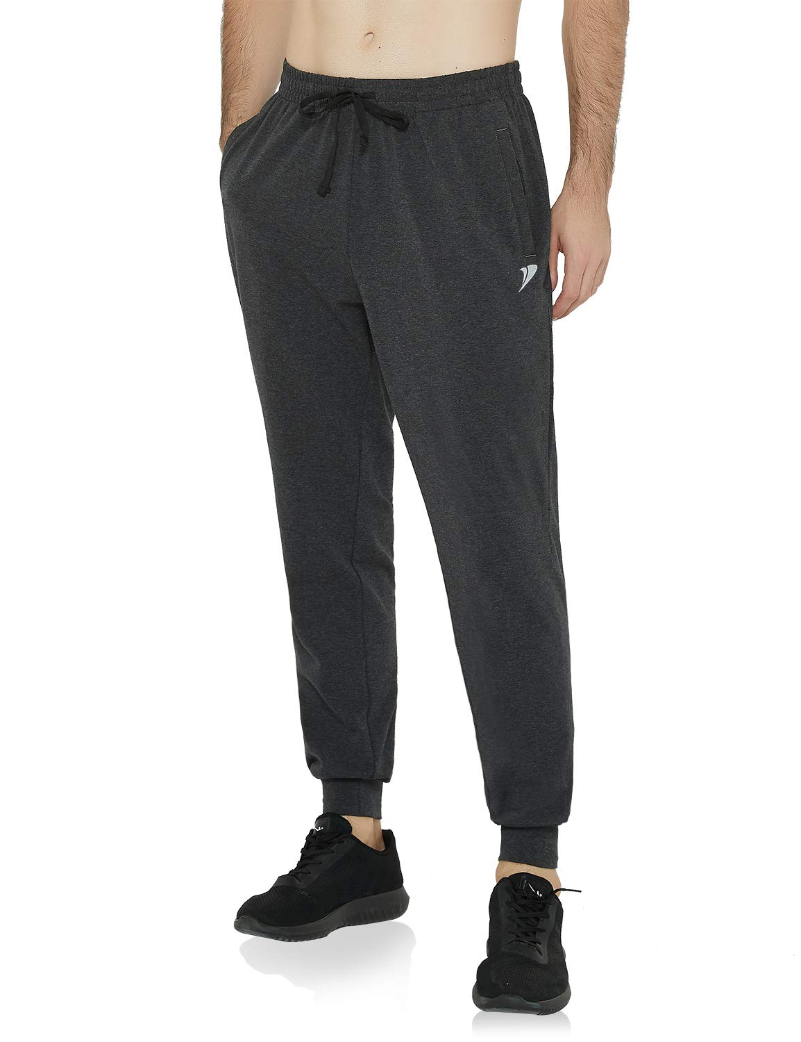 DEMOZU Men's Tapered Athletic Running Joggers Track Pants Training Workout Gym Sweatpants with Zipper Pockets