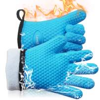 Loveuing Kitchen Oven Gloves - Silicone and Cotton Double-Layer Heat Resistant Oven Mitts/BBQ Gloves/Grill Gloves - Perfect for Baking and Grilling - 1 Pair (XL-XXXL, Blue)