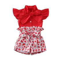 1-6 Y Toddler Kid Baby Girls Summer Clothes Set Tops Bow-Knot Shorts Outfit Lace Solid Color Sunsuit