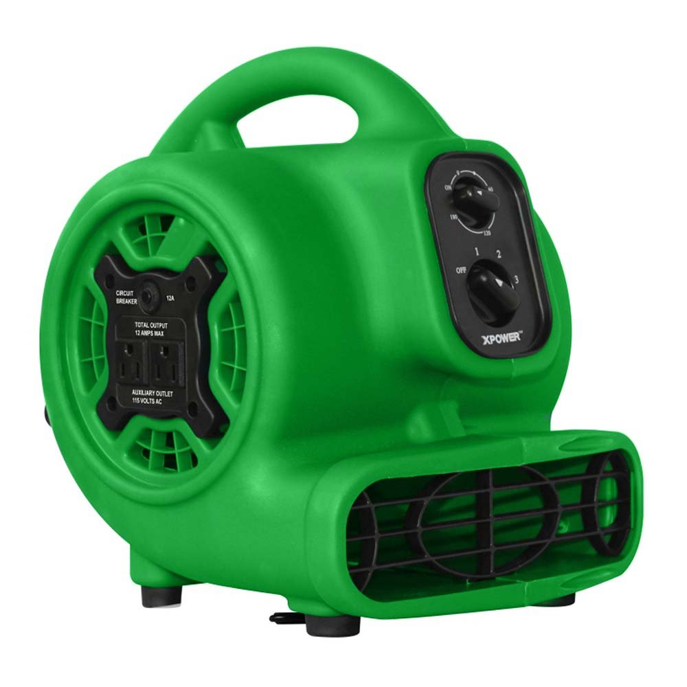XPOWER 848025023419 P-230AT Multi-Purpose Mini Mighty Air Mover, Utility Fan, Dryer, Blower with Power Outlets and Timer for Restoration, Cleaning, Home and Plumbing Use - 1/5 HP, 800 CFM, 3 Speeds, Green