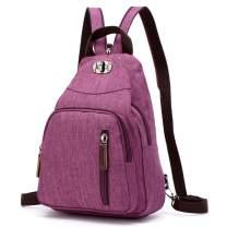 BuyAgain Casual Backpacks Purse for Women Sling Bag 2 Ways to Carry Girls Daypack Travel Rucksack School Bag, purple