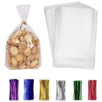 """200 Pack Clear Treat Bags 9''×12'' Clear Bakery Bags with 4"""" Twist Ties 6 Mix Colors - Clear Candy Bags Thickness OPP Plastic Bags for Wedding Cookie Birthday Cake Candy (9''×12'')"""