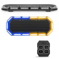 SpeedTech Lights K-Force 27 Mini Light Bar 168 Watts LED Strobe Lights for Trucks, Cars, Plows, and Emergency Vehicles with Magnetic Roof Mount - Blue/Amber