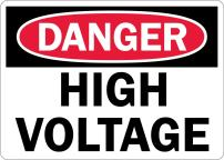"SmartSign 3M Engineer Grade Reflective OSHA Safety Sign, Legend ""Danger: High Voltage"", 7"" high x 10"" wide, Black/Red on White"