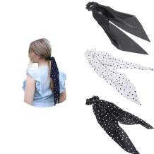 Chiffon Ponytail Hair Scarf Scrunchies - 3 Packs AWAYTR Flower Cashew Leopard Ripple Point Elastic Hair Ties Bow for Women (Wave point black + wave point white + black)