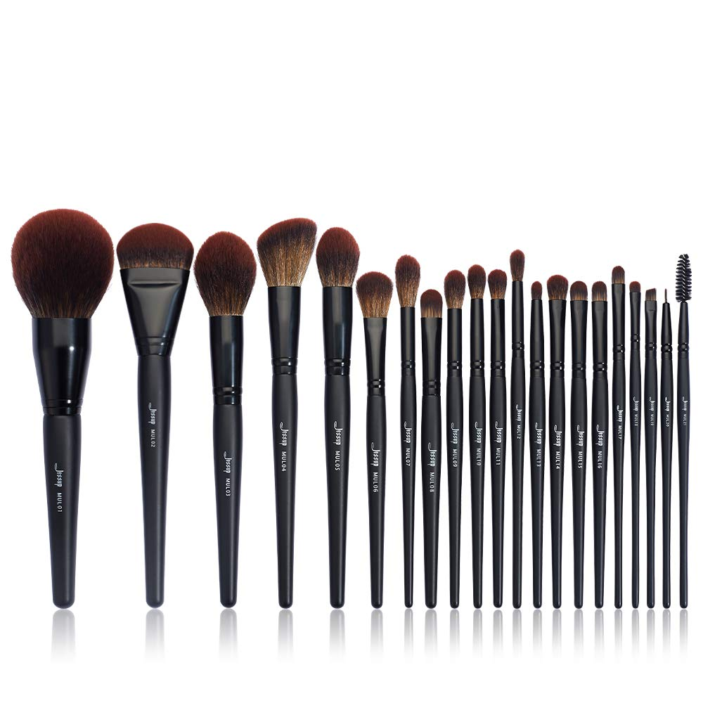 Jessup Black Makeup Brushes Premium Synthetic Powder Foundation Highlight Concealer Eyeshadow Blending Eyebrow Liner Spoolie Brush Set 21pcs T271