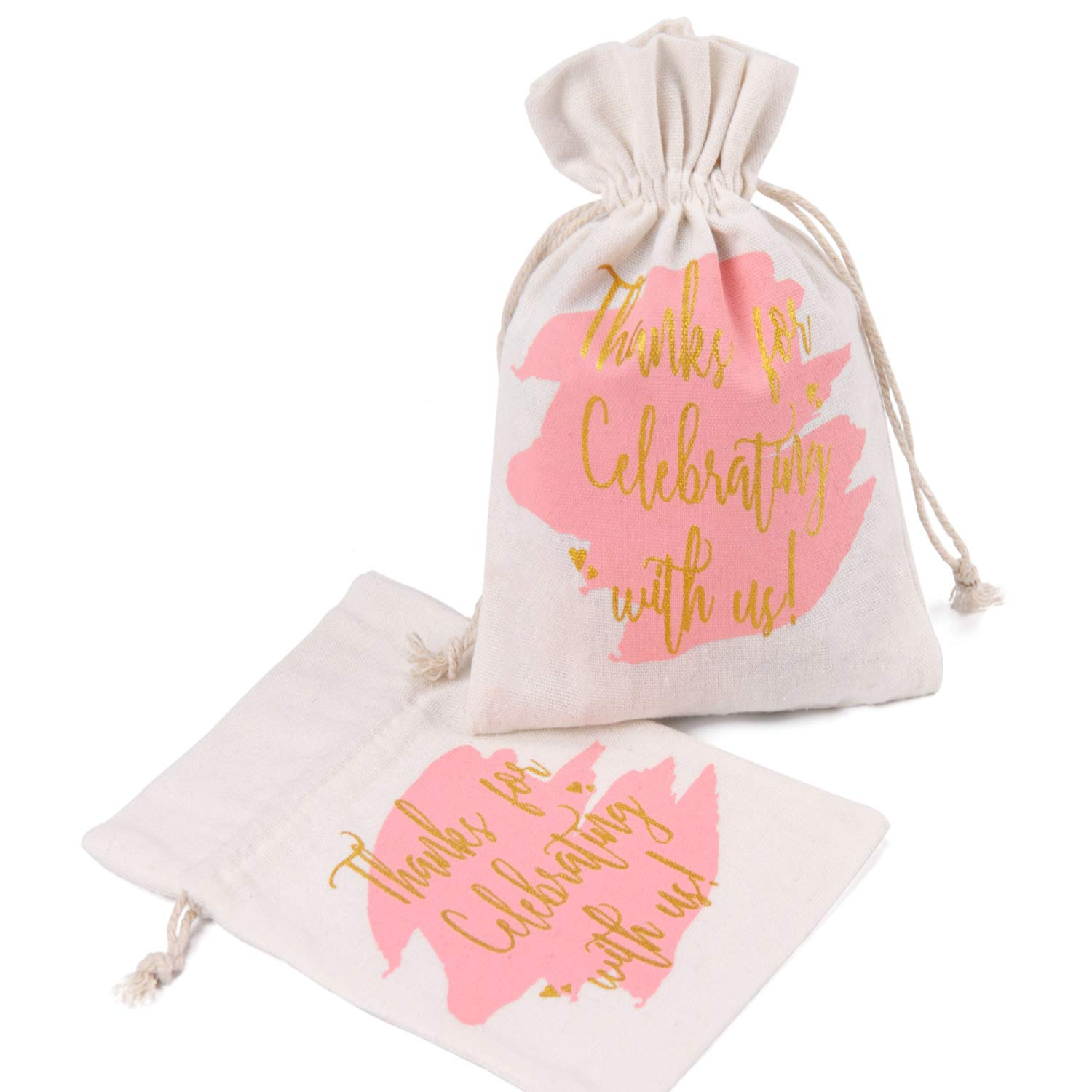 """WRAPAHOLIC 5x7 inch 10 pcs Burlap Drawstring Gift Bags - Pink Watercolor with Gold""""Thanks for Celebrating with us"""" Printed for Wedding Party Welcome Favor Bags"""
