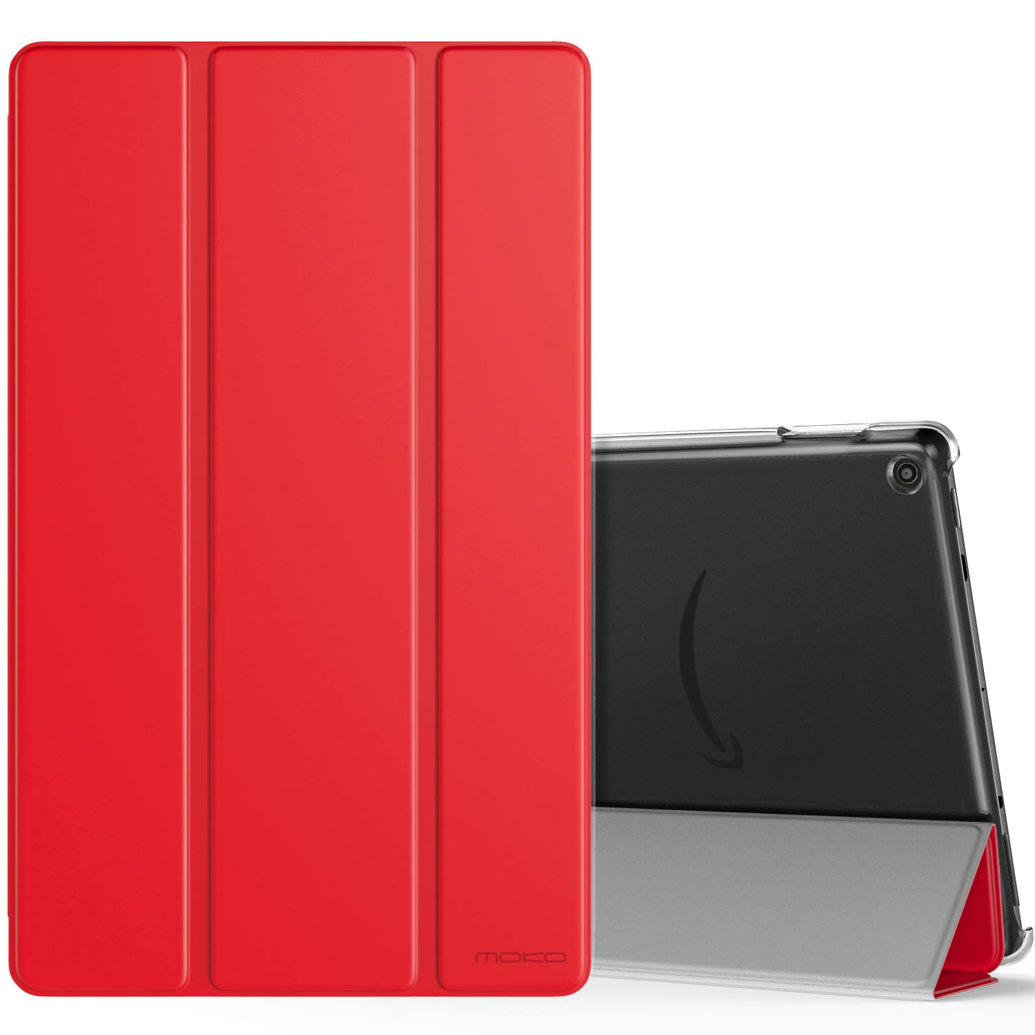 MoKo Case Fits All-New Fire HD 10 (7th Generation and 9th Generation, 2017 and 2019 Release), Smart Shell Stand Cover with Translucent Frosted Back for Fire HD 10.1 Inch, RED