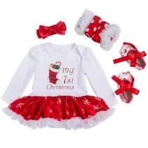 Looching Newborn Baby Girls Christmas Outfit Infant Romper Tutu Dress 4Pcs Set