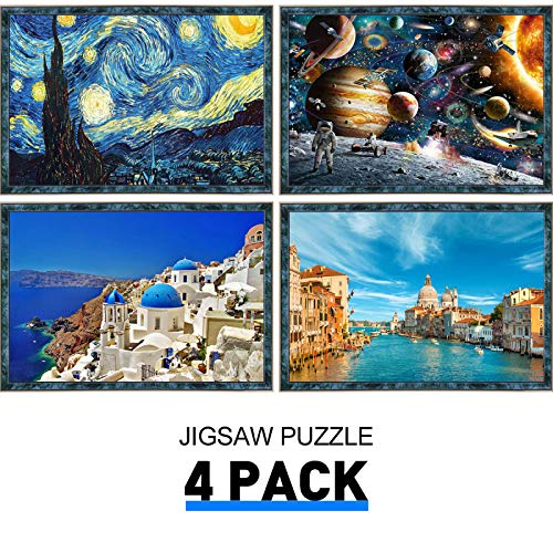 Jigsaw Puzzles Pack of 4 - Each 1000PCs, Pickwoo 4 Pack Puzzles 1000 Pieces Puzzle for Adults Kids - Educational Intellectual Decompressing Fun Family Game (P7124)