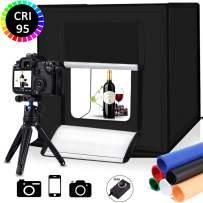 Portable Photo Studio Light Box,16inch Photography Lighting Tent kit,Shooting Lighting Softbox LED 5500k CRI95 & 6 Color Backdrops for Product Display