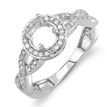 Dazzlingrock Collection 0.50 Carat (Ctw) 14k Round Diamond Semi Mount Halo Style Bridal Ring 1/2 Ct (No Center Stone), White Gold