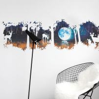 INLOMSA Moon Forest Wall Stickers Elk White Deer Kids Bedroom Wall Decal